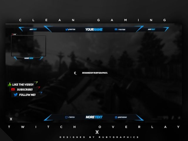 FREE GFX: Free Photoshop Video Overlay Template: Twitch, Gaming, Streaming Overlay Design Pack 2017