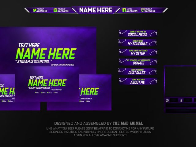 Free Twitch Overlay Template Pack # 2 – PSD – Free Download