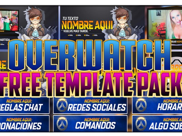 """FREE TEMPLATE – TWITCH BANNER PACK """"OVERWATCH"""" – WEBCAM, INTERMISSION, BUTTONS, SCHEDULE AND OFFLINE"""