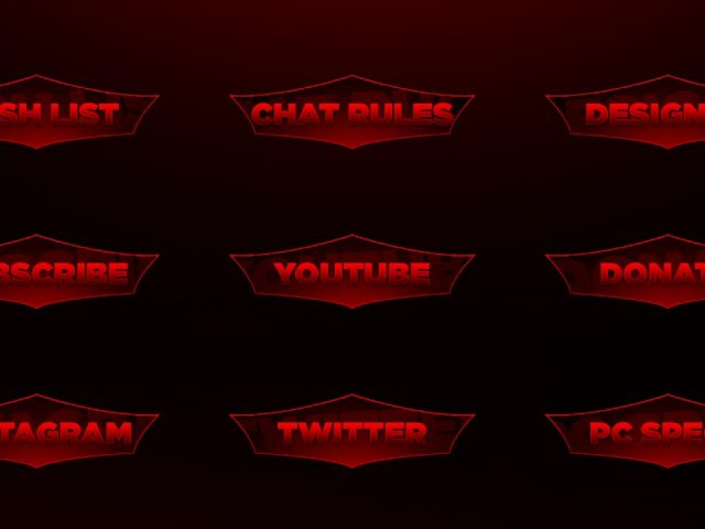 Free Red Twitch Panel Photoshop Template