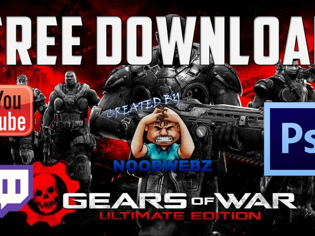 Free Gears of War YouTube Gaming/Twitch Livestream Overlay PSD Template