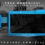 """Free Graphics: Photoshop Twitch video overlay: """"Aggressive Blue"""" template #5 @YLLiBzify"""