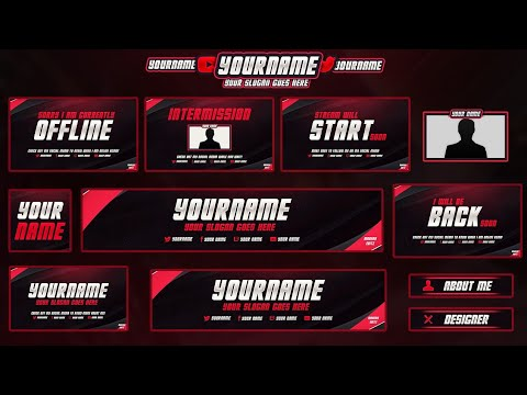 #3 FREE Twitch/Hitbox Streaming Overlay Template Pack 2017 | Twitch Stream Pack | Various Colours
