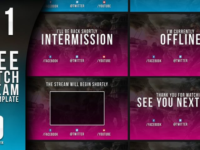 Gaming Twitch Pack Template 1 – Free Photoshop Download