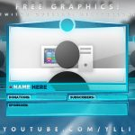 "Free Graphics: Photoshop Twitch video overlay: ""Aggressive Blue"" template #13 @YLLiBzify"
