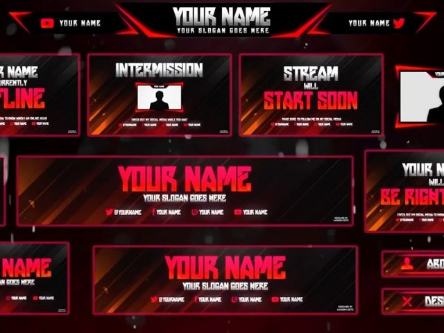 Free GFX: Twitch/Hitbox Streaming Overlay Template Pack 2017 | Twitch Stream Pack | Various Colours
