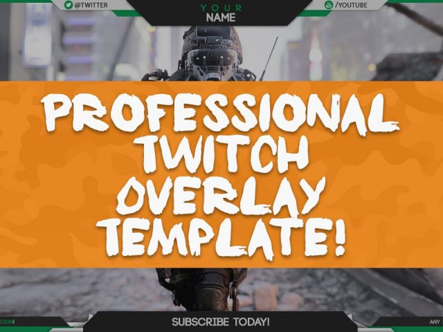 FREE – Professional Twitch / Livestream Overlay Template! – Editable PSD – Optic Style!