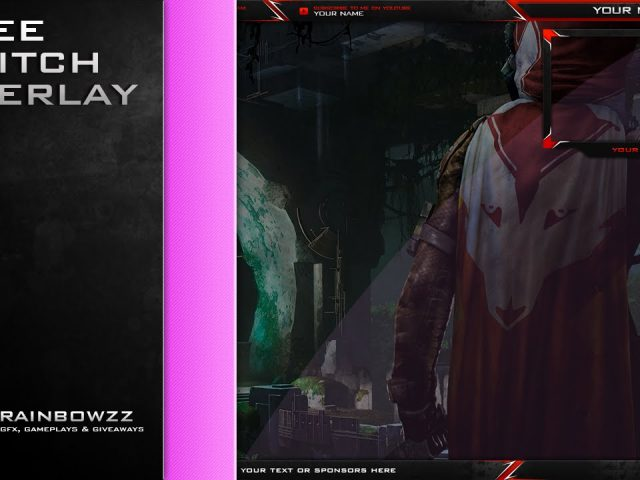 Free Livestream Twitch Overlay Clean Red White (.PSD)
