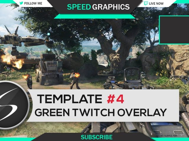 Green Twitch Overlay Template #4 – Free Photoshop Download