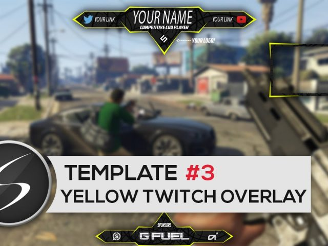 Yellow GAMING Twitch Overlay Template #3 – Free Photoshop Download