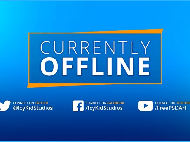 Free Twitch Banner Template – Offline Stream BlueOrange – PSD – Free Download
