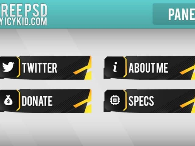 Free Twitch Panels – Golden Panels – PSD – Free Download