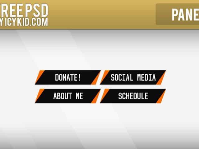 Free Twitch Panels – Orange Crisp Panels – PSD – Free Download