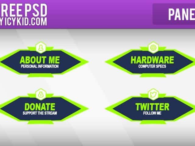 Free Twitch Panels – Green Nuke Panels – PSD – Free Download