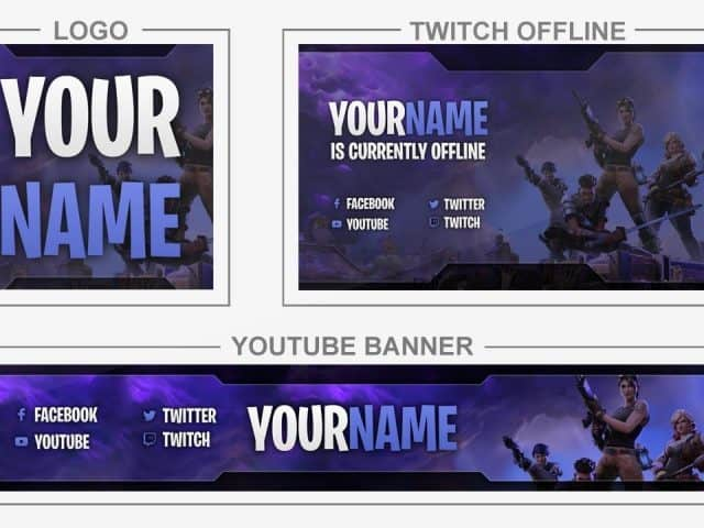 Fortnite (Youtube Banner, Logo, Twitch Offline – Templates) + TUTORIAL (how to edit)