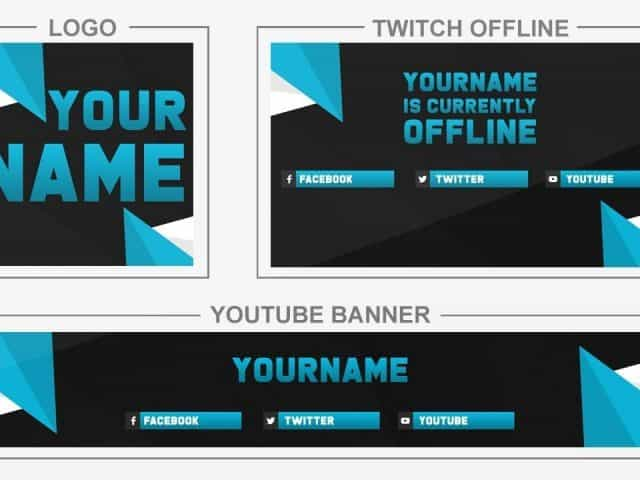 Blue Triangle (Youtube Banner, Logo, Twitch Offline – Templates) + TUTORIAL (how to edit)