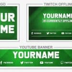 Green Neutral (Youtube Banner, Logo, Twitch Offline - Templates) + TUTORIAL (how to edit)