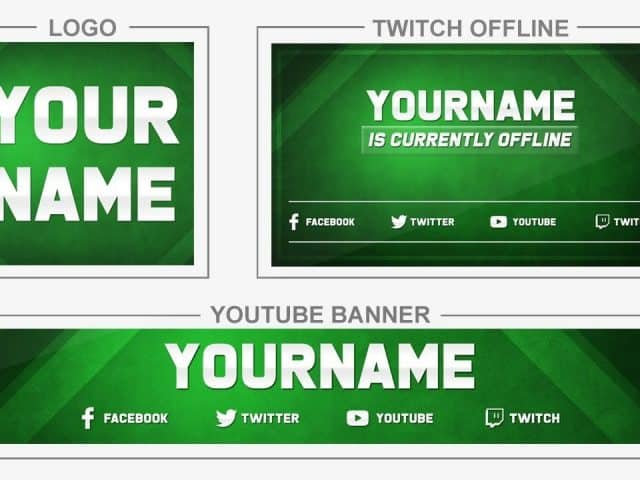 Green Neutral (Youtube Banner, Logo, Twitch Offline – Templates) + TUTORIAL (how to edit)
