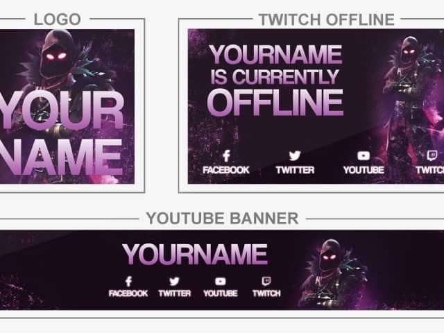 Fortnite Raven (Youtube Banner, Logo, Twitch Offline – Templates) + TUTORIAL (how to edit)
