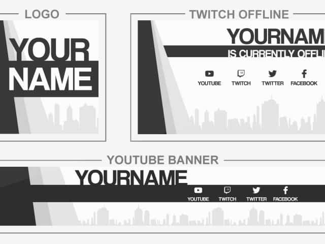 City Flat (Youtube Banner, Logo, Twitch Offline – Templates) + TUTORIAL (how to edit)