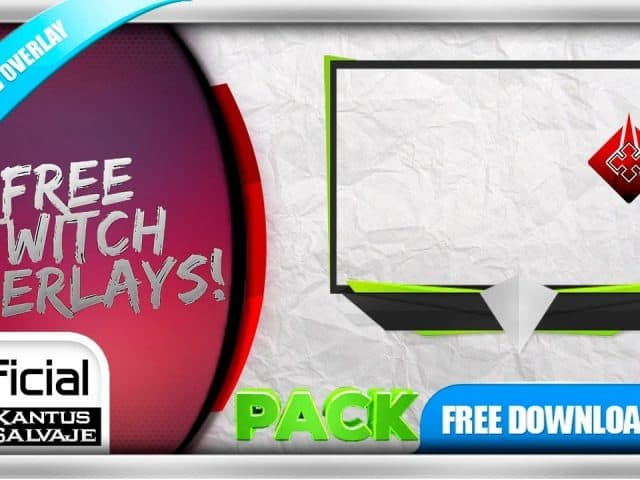 FREE Twitch Overlay Template Animated – Webcam Animated GREEN & FIRE + Webcam Animated GREEN – PACK