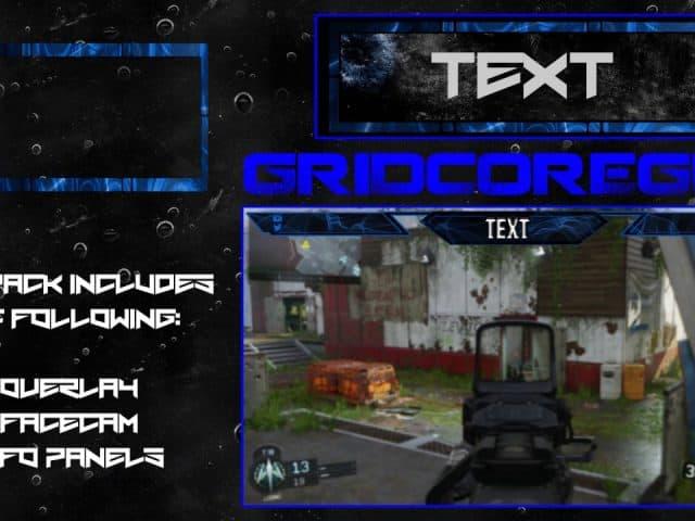 """Razer"" Blue Free GFX Overlay, Facecam, Twitch/HitBox Info Panels Template GFX Pack"