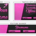 Pink Petals (Youtube Banner, Logo, Twitch Offline – Templates) + TUTORIAL (how to edit)