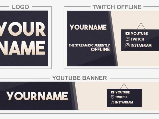Modern Design (Youtube Banner, Logo, Twitch Offline – Templates) + TUTORIAL (how to edit)