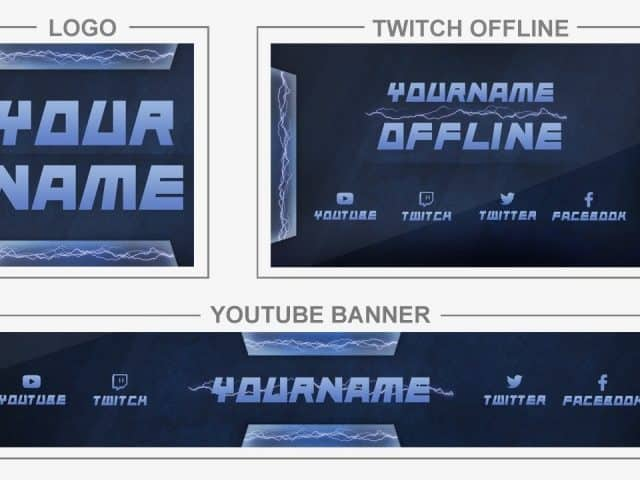 Lightning (Youtube Banner, Logo, Twitch Offline – Templates) + TUTORIAL (how to edit)