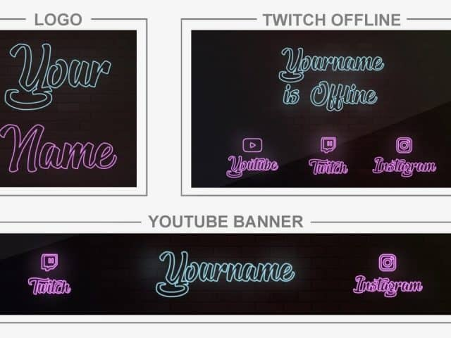 Wall Neon (Youtube Banner, Logo, Twitch Offline – Templates) + TUTORIAL (how to edit)