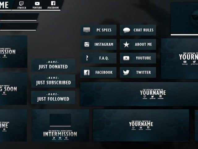 Free GFX Free OwenDesigns 1,000 Subscribers Twitch Template Pack  Free PSD Download Link 2016