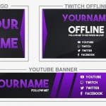 Purple Brand (Youtube Banner, Logo, Twitch Offline - Templates) + TUTORIAL (how to edit)