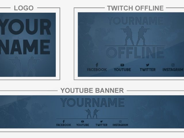 CS:GO Blue (Youtube Banner, Logo, Twitch Offline – Templates) + TUTORIAL (how to edit)