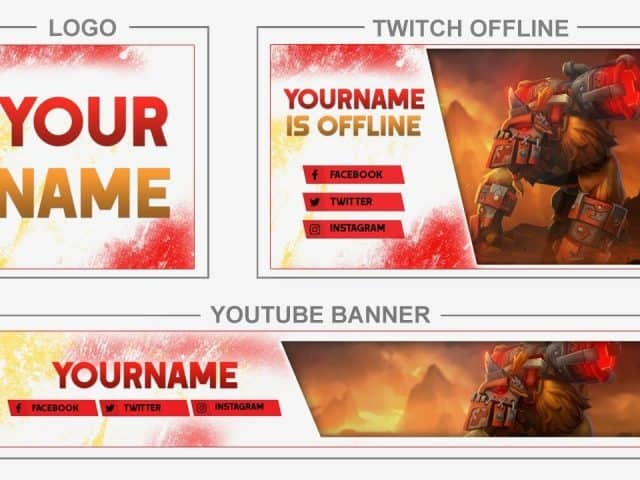 Earthshaker – Dota2 (Youtube Banner, Logo, Twitch Offline – Templates) + TUTORIAL (how to edit)