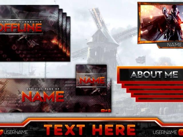 FREE TEMPLATE Battlefield 1 Twitch Gaming Overlay Full Pack | Photoshop PSD