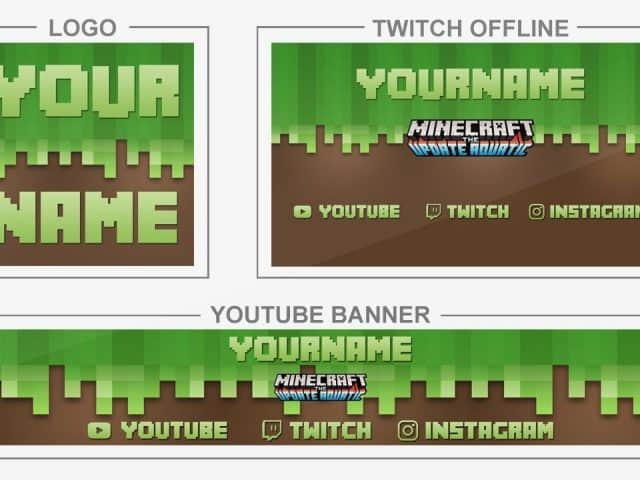 Minecraft Aquatic (Youtube Banner, Logo, Twitch Offline – Templates) + TUTORIAL (how to edit)