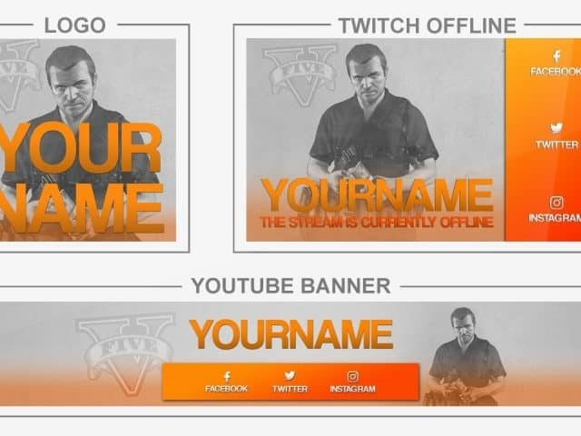 GTA V (Youtube Banner, Logo, Twitch Offline – Templates) + TUTORIAL (how to edit)