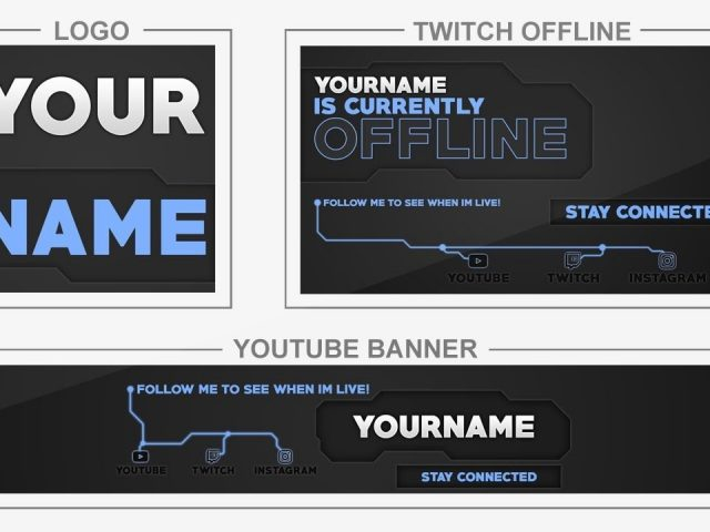 Blue Circuit (Youtube Banner, Logo, Twitch Offline – Templates) + TUTORIAL (how to edit)