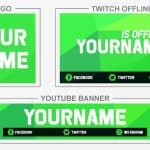 Green Corners (Youtube Banner, Logo, Twitch Offline - Templates) + TUTORIAL (how to edit)