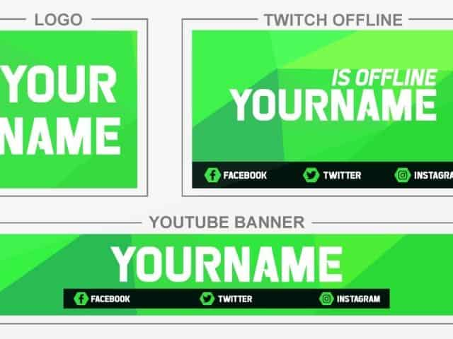 Green Corners (Youtube Banner, Logo, Twitch Offline – Templates) + TUTORIAL (how to edit)
