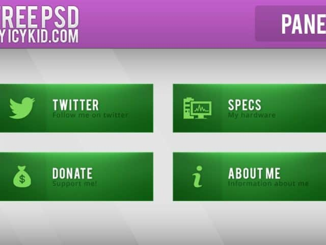 Free Twitch Panels – Green Panels – PSD – Free Download